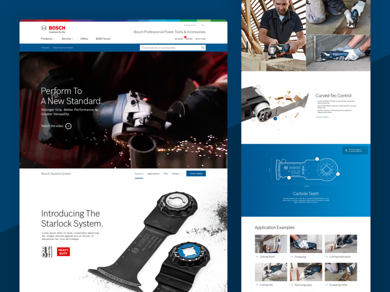 Bosch Professional Landing Page modern flat blueprint video product shot tools drills landing page bosch power tools clean web