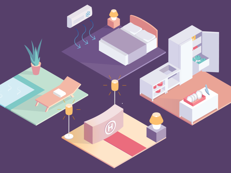 Hotel Room Illustration for EnBW colorful management foyer bedroom kitchen spa vibrant flat hotel isometric illustration