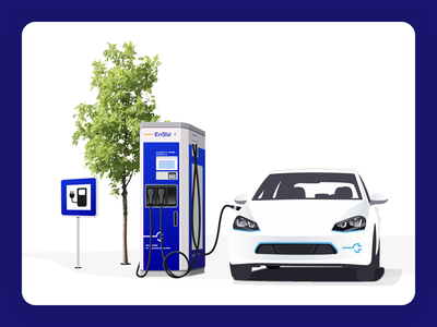 EnBW Electric Mobility Illustration realistic architectural architecture enbw electric mobility sign tree charging station charger electric charging car illustration