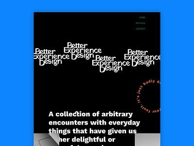 Better Exprience Design Homepage landing page website concept white space whitespace dark minimal minimalism website typography branding logo ui design