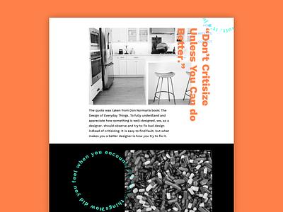 Better Experience Design - Don Norman's Quote landing page dark concept website design white space whitespace minimalism minimal website typography branding logo ui design