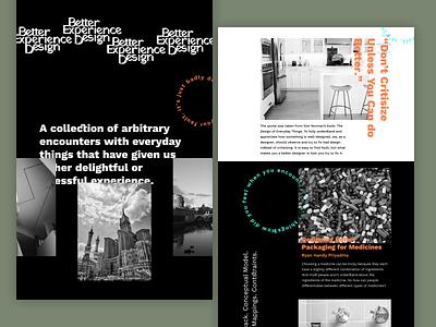 Better Experience Design - Landing Page white space whitespace landing pages landing page ui ui typogaphy minimalist minimalism minimal logo website landing page design dark branding