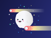 Moon, Meteors, & Stars Illustration