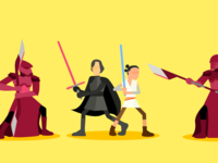 Kylo Ren, Rey, and The Royal Guards