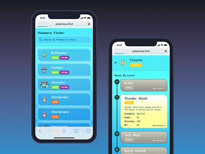 Pokemove Finder mobile app design app design app detective pikachu bulbasaur pokemon go pikachu pokemon design ui interaction sketch