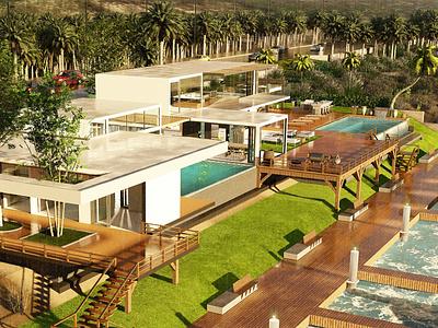 Modern Luxury Beach Villa rendering render interiordesign interior 3d model design architecture design architecture 3d render 3d