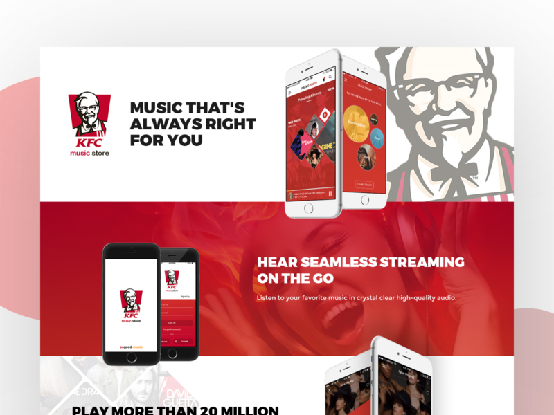 KFC Music store - Product Concept redesign concept product design red user experience ux concept design music player ui ios kfc music app