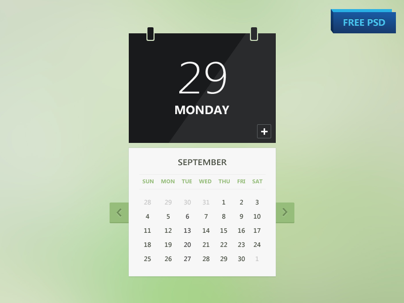 Calendar ui psd design free download by graphicmore.