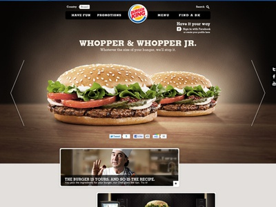 Burger King . Concorrência burger king website sandwich latam