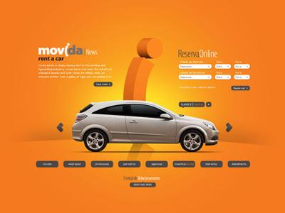 Movida Rent a Car . Proposta Site 2009 rent a car movida car website e-commerce orange
