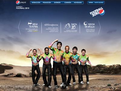 Pepsi . Proposta Football 2010 pepsi football kaka henry messi drogba lampard africa desert compositon manipulation