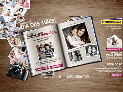 Pernambucanas . Dia das mães website mothers day book polaroid camera table