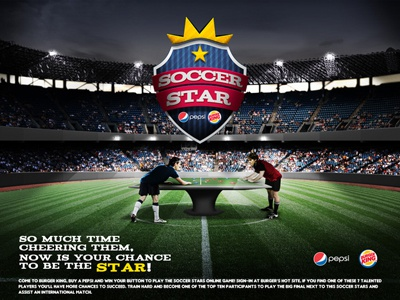 Pepsi + Burguer King . Concorrência pepsi burgerking messi kaka football stadium photo manipulation composition