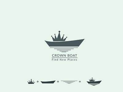 Crown Boat Logo branding vector logo letter logo illustration icon design brand identity graphic design