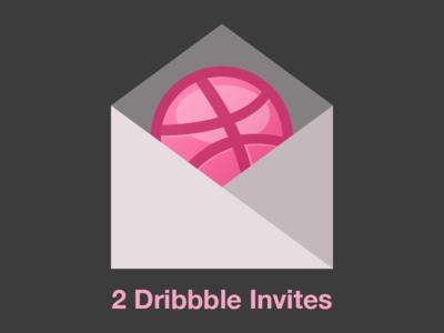 2 Dribbble Invites invite invitation pink grey flat minimal dribbble invites