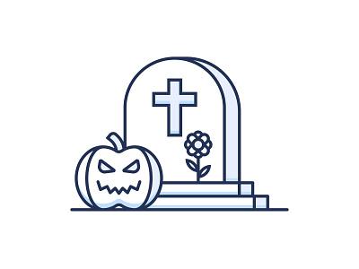Halloween rip icon gravestone grave cemetery flower pumpkin horror scary spooky halloween