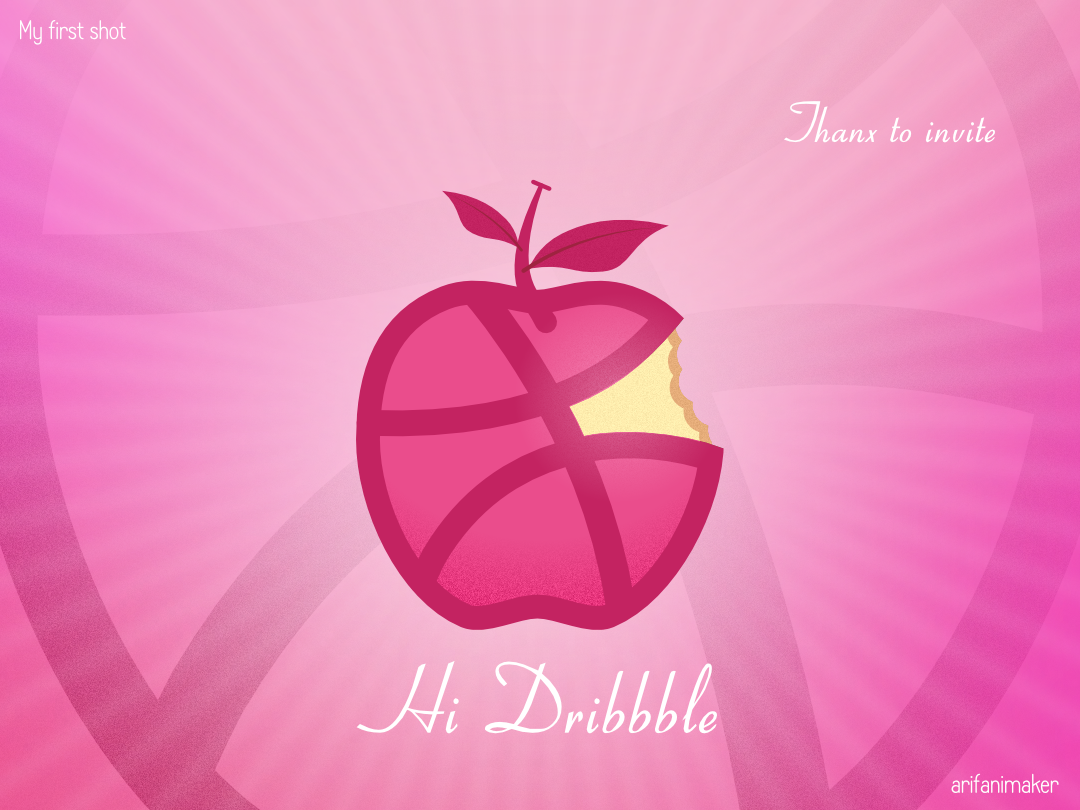 Dribbble in Apple - Apple in dribbble dribbble logo colors affinitydesigner app minimal vector arifanimaker eat bite food dribbble invite invite design firstshot hi dribbble apple logo icon ui design illustration