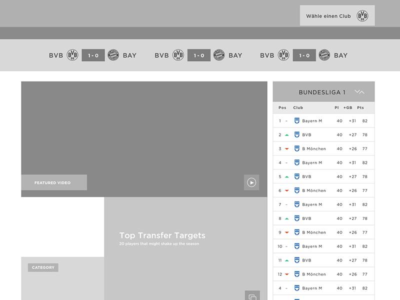Bundesliga Homepage charts interactive portal website layout design germany futbol soccer