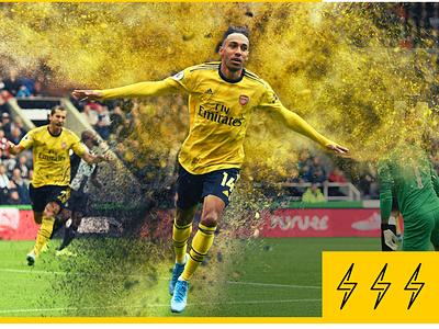 "Aubameyang a.k.a ""Lightning"" soccer arsenal lightning effects photoshop"