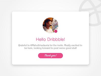 Hello Dribbble! india delhi haryana gurgaon hello welcome profile card debut ui