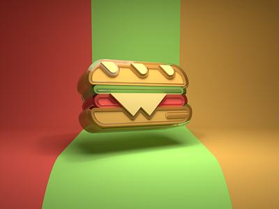 Sandwich graphic design 3d