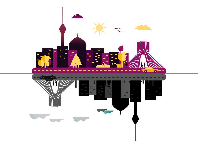 Tehran City Illustration tehran vector flat town tower culture window street illustration home city building