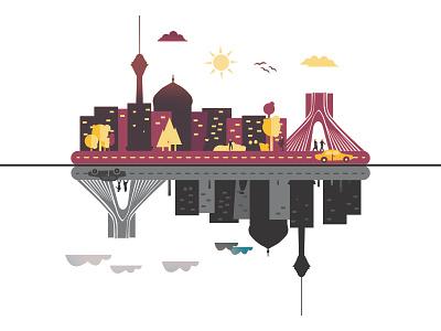 Tehran City Illustration tehran vector flat town tower culture window street illustration home city building