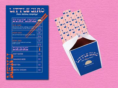 Little Jiao - A Dumpling House graphic design restaurant mockup retro packaging vector colorful illustration logo design branding brand identity