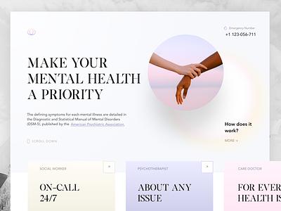 Online Portal for Mental Health Information uiux uidesign landingpage concept therapy psychology mentalhealth healthcare website design