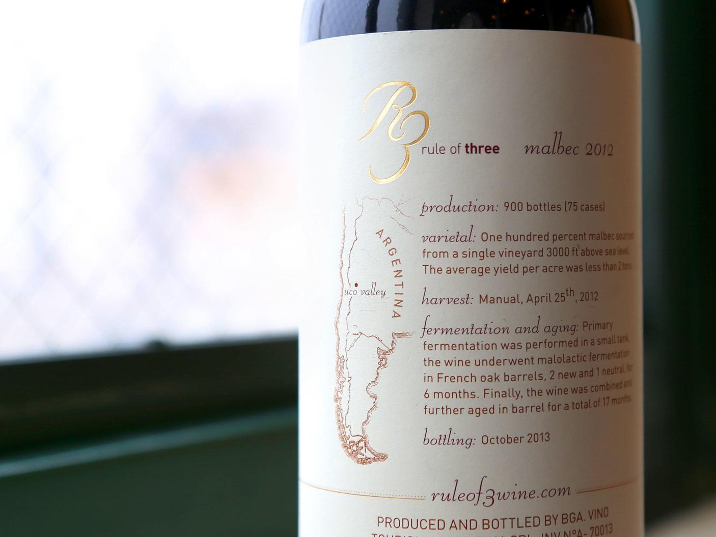 Rule of Three Wine logo design print design wine label wine packaging design