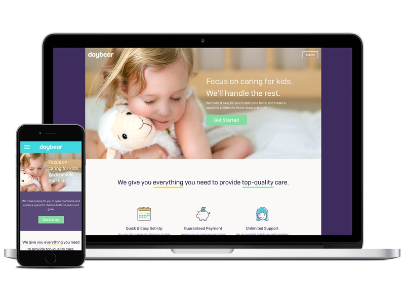 Daybear Homepage homepage mobile web website web design
