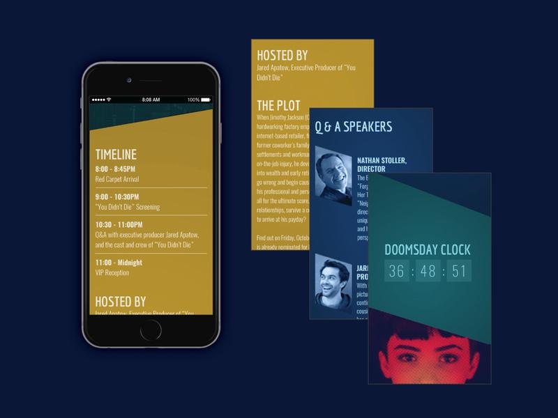 Movie Premiere Template mobile mobile design user interface ui