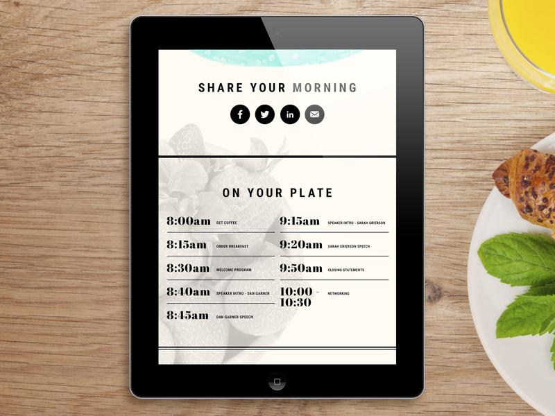 SXSW Breakfast Event Template website design web design ui user interface