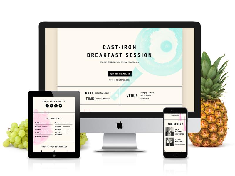 SXSW Breakfast Event Template web design tablet mobile website design ui