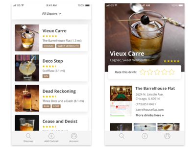 UI Exploration for Cocktail App