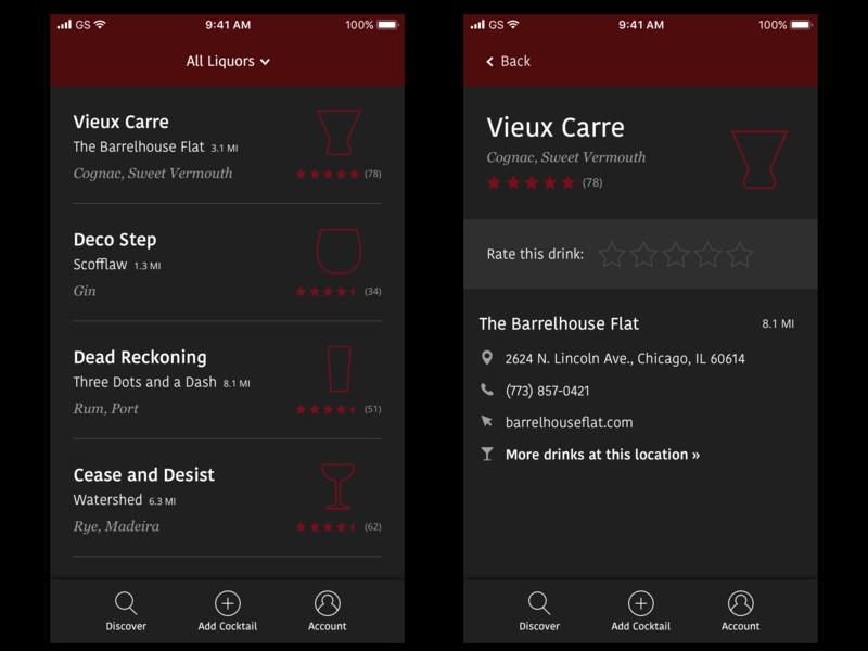 UI Exploration for Cocktail App product design app design mobile user interface ui