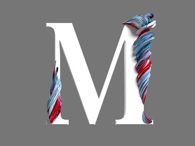 M typeface type pixel cinema4d 3d