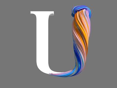 U illustration type design pixel cinema4d 3d