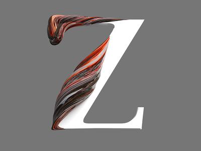 Z type design pixel cinema4d 3d