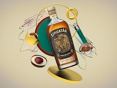 Intervention Bottle illustration design pixel cinema4d 3d