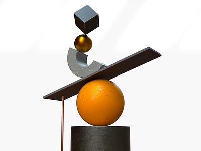 Balance illustration design pixel cinema4d 3d