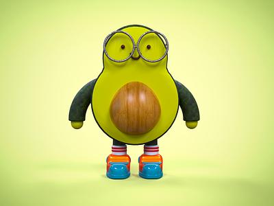 Avocado illustration design pixel cinema4d 3d