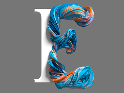 E tyography type illustration pixel cinema4d 3d