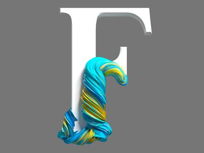 F typogaphy type illustration pixel cinema4d 3d