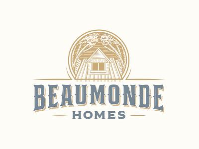 Beaumonde Homes Logo home builder rustic home antique vintage wood block engraved emblem logo brand