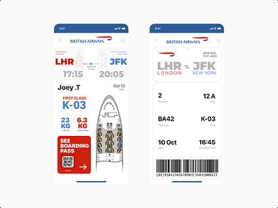 Boarding Pass britishairways boardingpass mobile userexperience ux ui dailyui