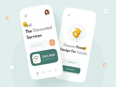 Discounted Services App mobile app mobile app design digital light theme interface minimal mobile ui mobile trend app design ux design ui design typography green service discount design app ux ui