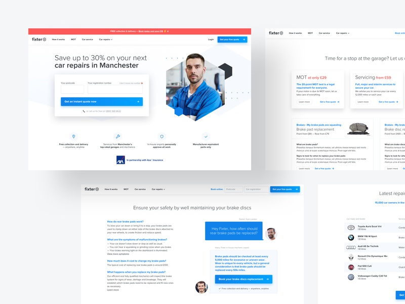Fixter Desktop design system styleguide branding b2c product design product page clean mininalist cars ui  ux design ui design landing page desktop online booking