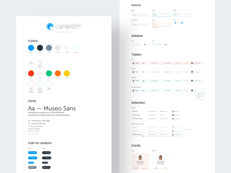 Curasion Styleguide product branding product cards tables color system color scheme ui crm saas design branding saas ui design saas app product design design systems design system styleguide