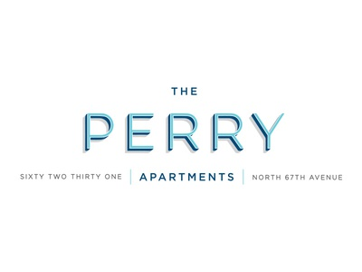 The Perry Apartments gotham lulo navy blue aqua perry apartments logo itentity branding